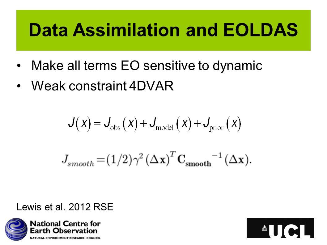 Data Assimilation and EOLDAS Make all terms EO sensitive to dynamic Weak constraint 4DVAR Lewis et al.