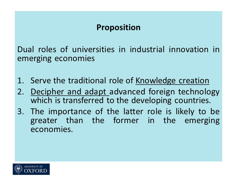 Proposition Dual roles of universities in industrial innovation in emerging economies 1.Serve the traditional role of Knowledge creation 2.Decipher and adapt advanced foreign technology which is transferred to the developing countries.