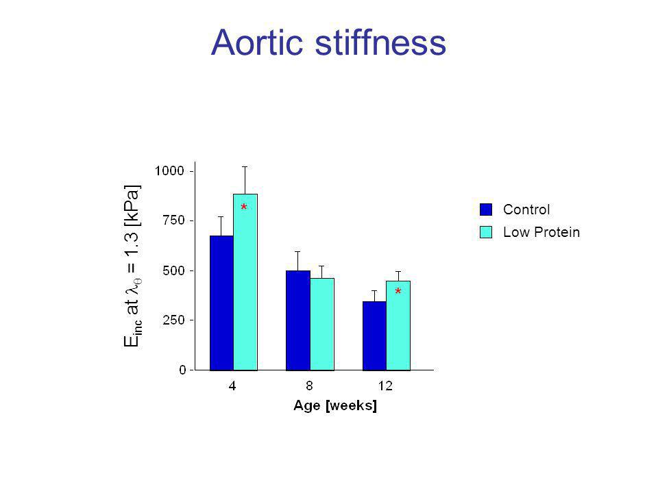 Aortic stiffness E inc at  = 1.3 [kPa] * * Control Low Protein