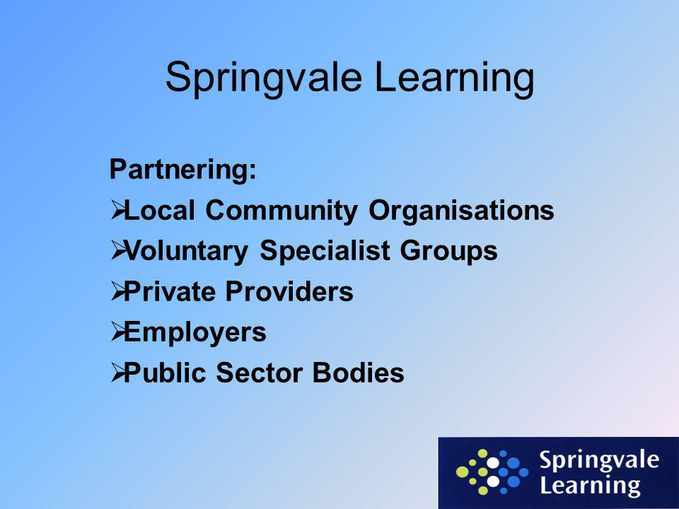 Springvale Learning Partnering:  Local Community Organisations  Voluntary Specialist Groups  Private Providers  Employers  Public Sector Bodies