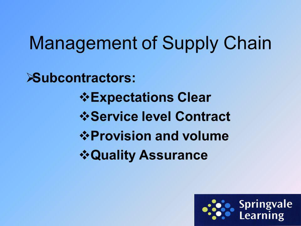 Management of Supply Chain  Subcontractors:  Communication  Subcontractors Monthly Meetings  One to one Subcontractor meetings There is effective communication and outstanding relationships between the Lead Contractor and the sub- contractors.