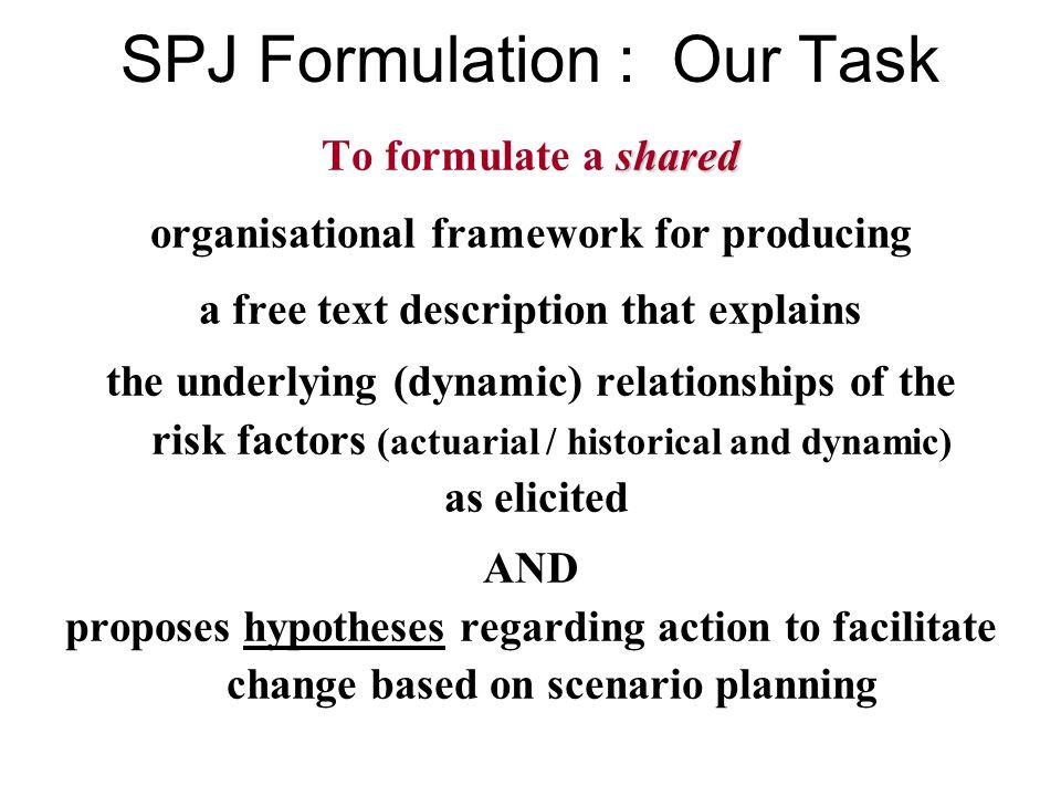 Constituents of the SPJ formulation predisposing factors precipitating factors relevant risk factors risk of what? triggers maintenance relevant prote