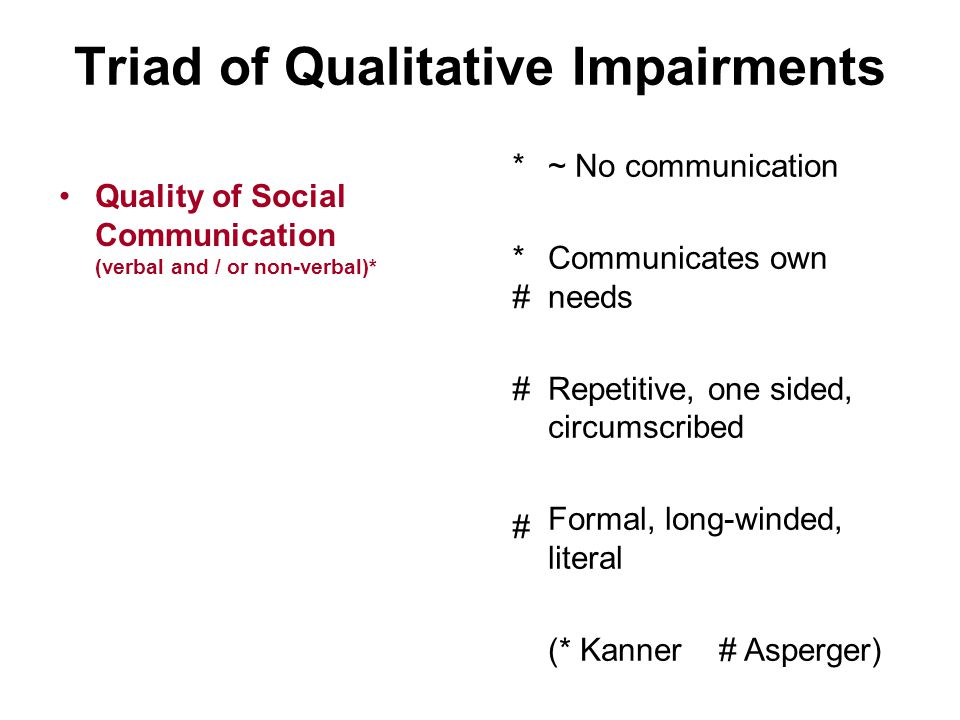 Triad of Qualitative Impairments Quality of Social Reciprocity *###*### Aloof, indifferent Passive Active but odd, bizarre Over-formal, stilted Sociable with few persons – vulnerable / difficulties within groups (* Kanner # Asperger)