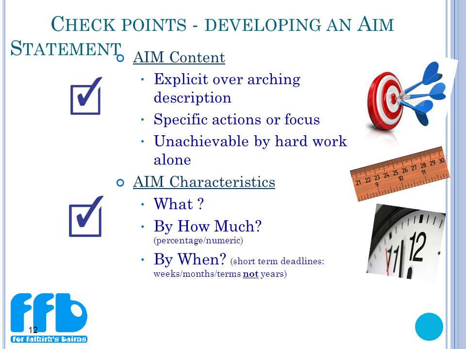 12 C HECK POINTS - DEVELOPING AN A IM S TATEMENT AIM Content Explicit over arching description Specific actions or focus Unachievable by hard work alone AIM Characteristics What .