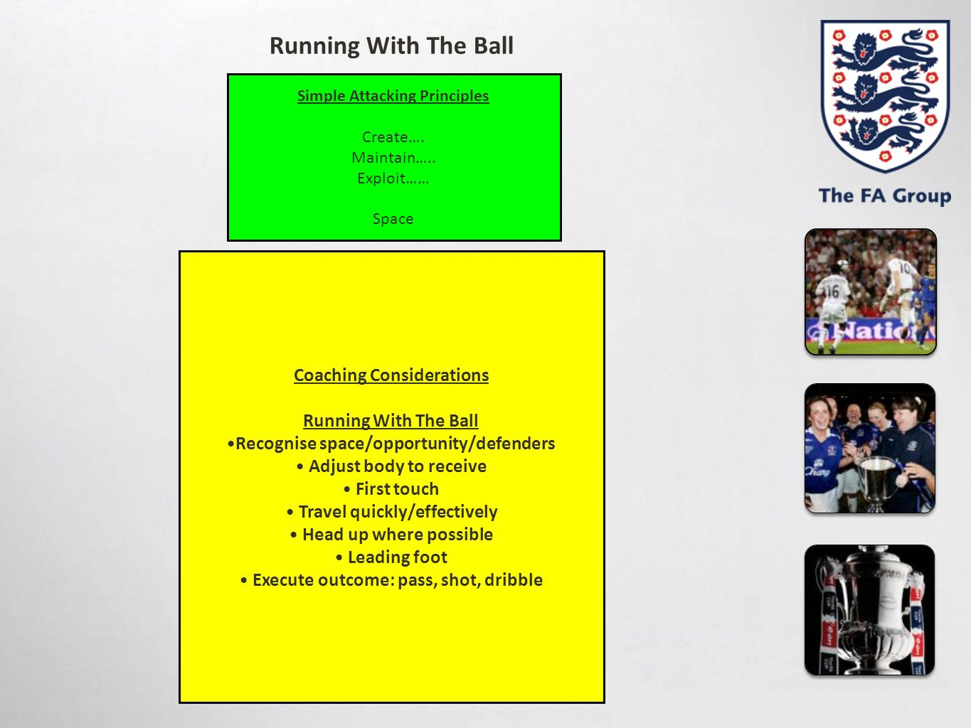 Simple Attacking Principles Create…. Maintain….. Exploit…… Space Coaching Considerations Running With The Ball Recognise space/opportunity/defenders A