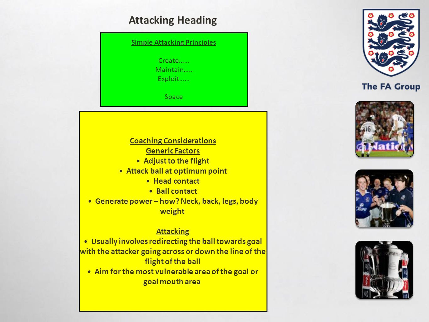 Simple Attacking Principles Create…… Maintain….. Exploit…… Space Coaching Considerations Generic Factors Adjust to the flight Attack ball at optimum p