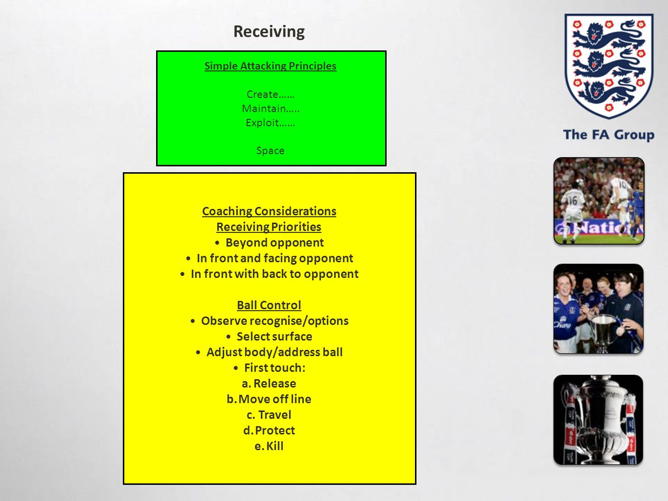 Simple Attacking Principles Create…… Maintain….. Exploit…… Space Coaching Considerations Receiving Priorities Beyond opponent In front and facing oppo