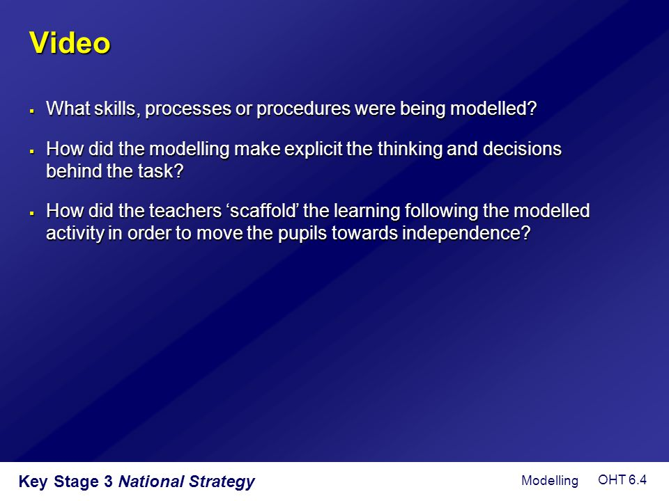 Key Stage 3 National Strategy Video  What skills, processes or procedures were being modelled?  How did the modelling make explicit the thinking and