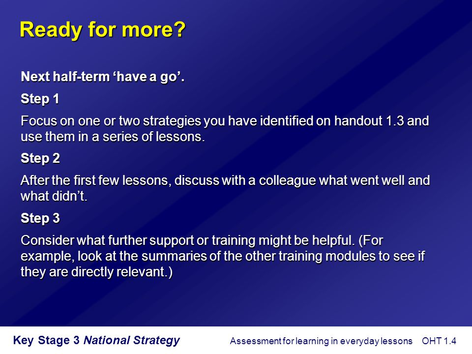 Key Stage 3 National Strategy Some keys to successful starters  Plan the starter as a discrete element of the lesson.