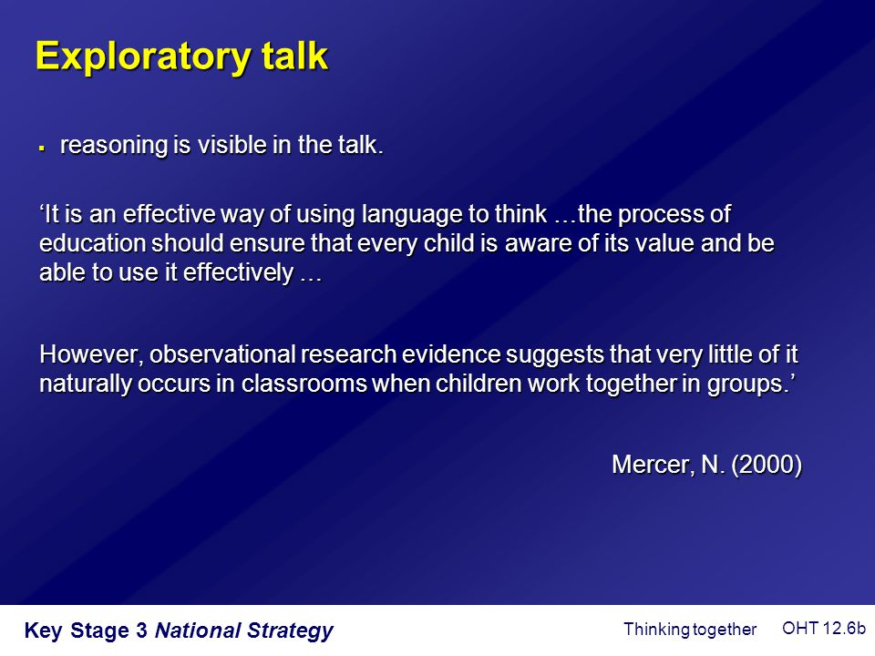 Key Stage 3 National Strategy 'It is an effective way of using language to think …the process of education should ensure that every child is aware of