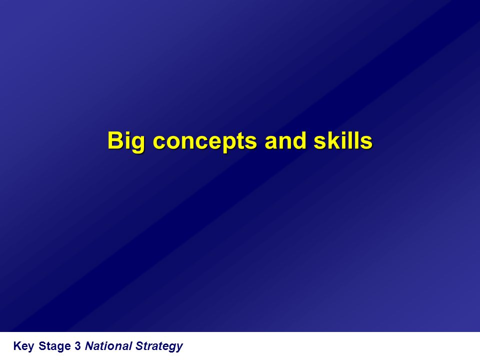 Key Stage 3 National Strategy Big concepts and skills