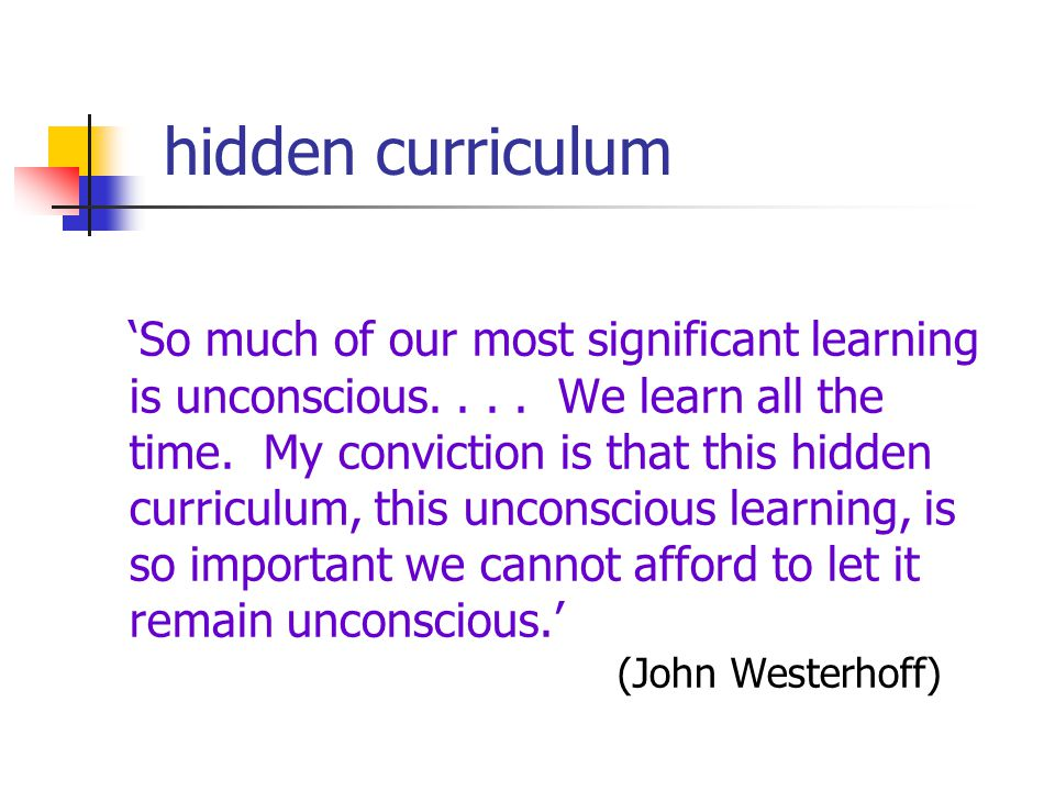 hidden curriculum 'So much of our most significant learning is unconscious....