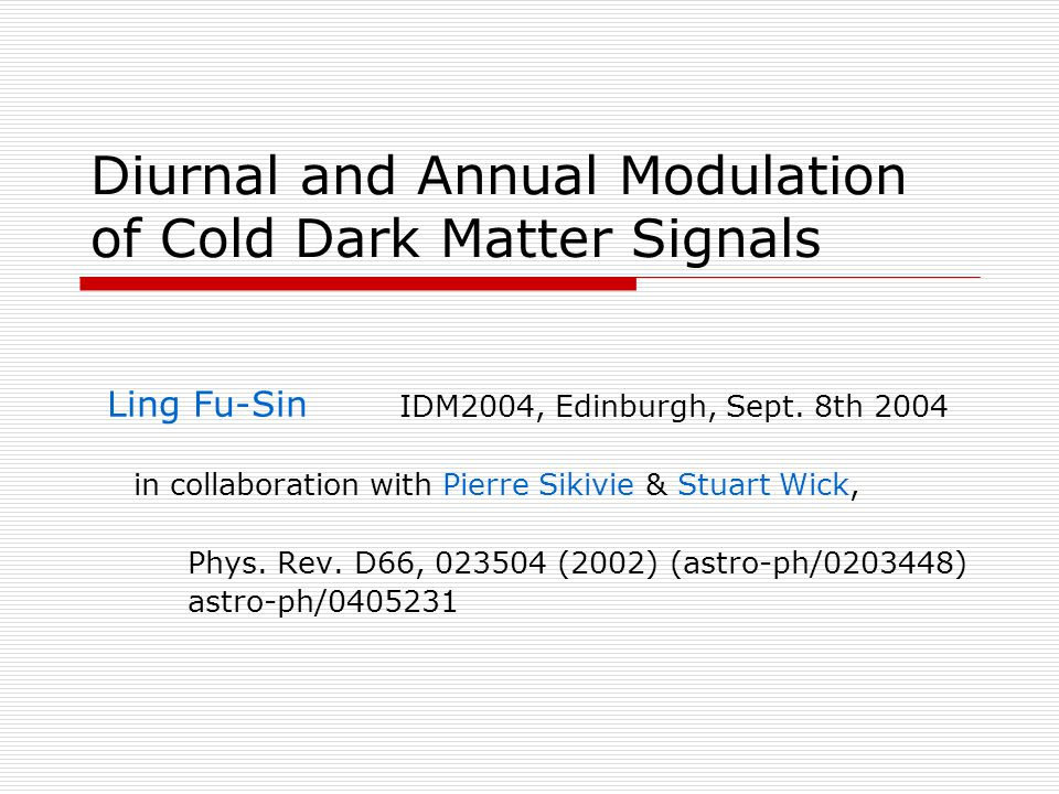 Diurnal and Annual Modulation of Cold Dark Matter Signals Ling Fu-Sin IDM2004, Edinburgh, Sept.