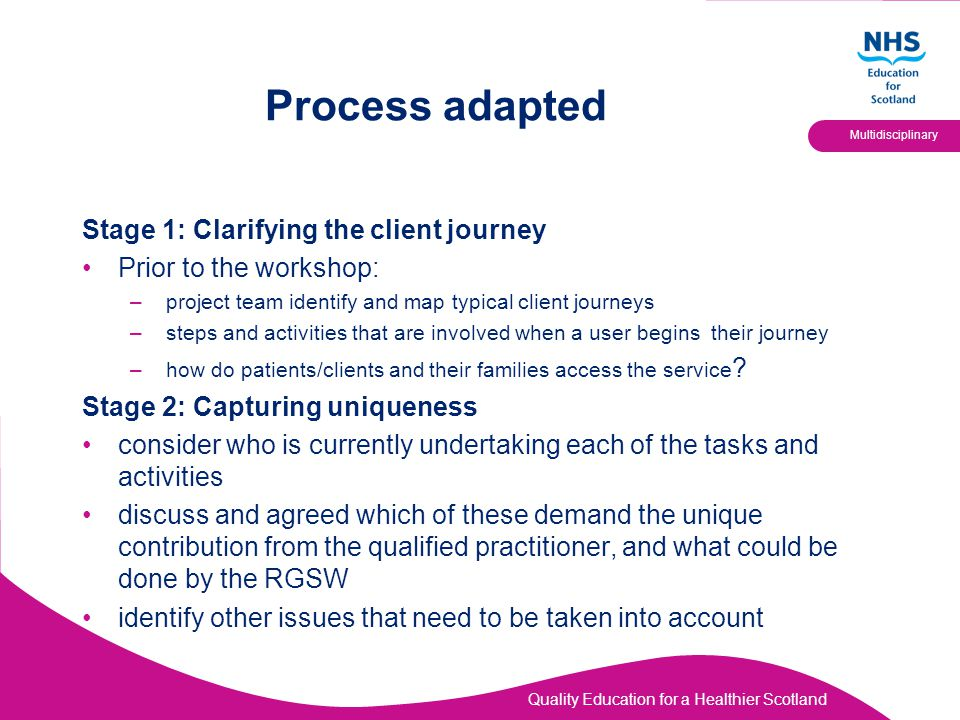 Quality Education for a Healthier Scotland Multidisciplinary Process adapted Stage 1: Clarifying the client journey Prior to the workshop: –project te