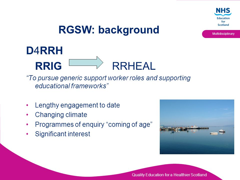 "Quality Education for a Healthier Scotland Multidisciplinary RGSW: background D4RRH RRIG RRHEAL ""To pursue generic support worker roles and supporting"