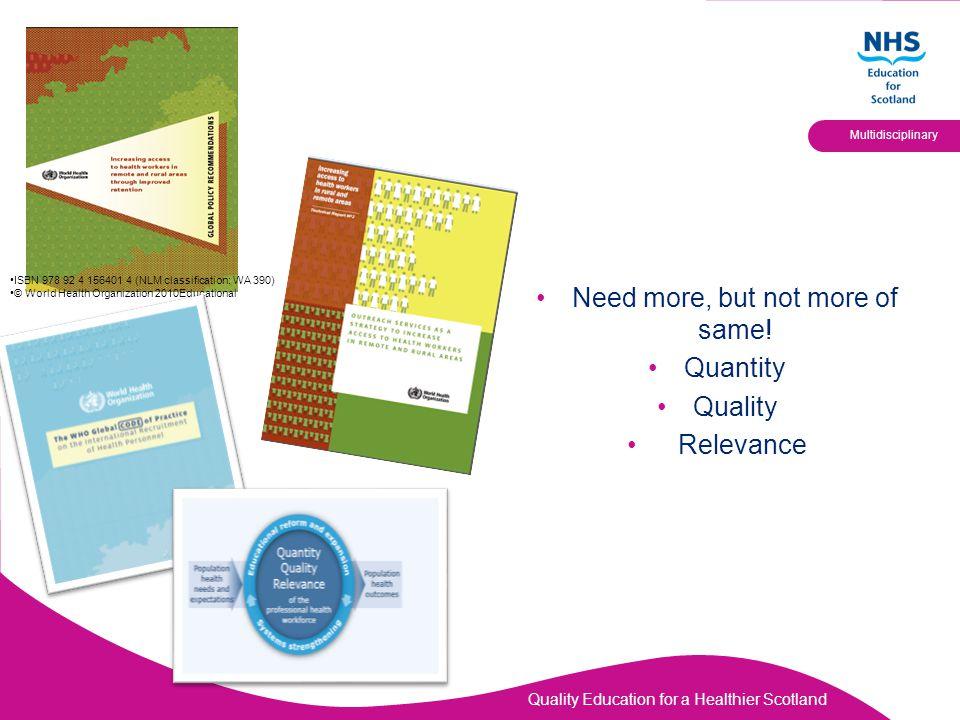 Quality Education for a Healthier Scotland Multidisciplinary