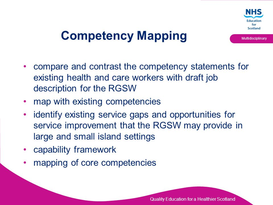 Quality Education for a Healthier Scotland Multidisciplinary Stakeholder Agreement Mapping of existing job descriptions Identify gaps in RGSW job description THEN AGREED: RGSW role should be at level 3 on the NHS Career Framework (Senior Healthcare Support Worker).