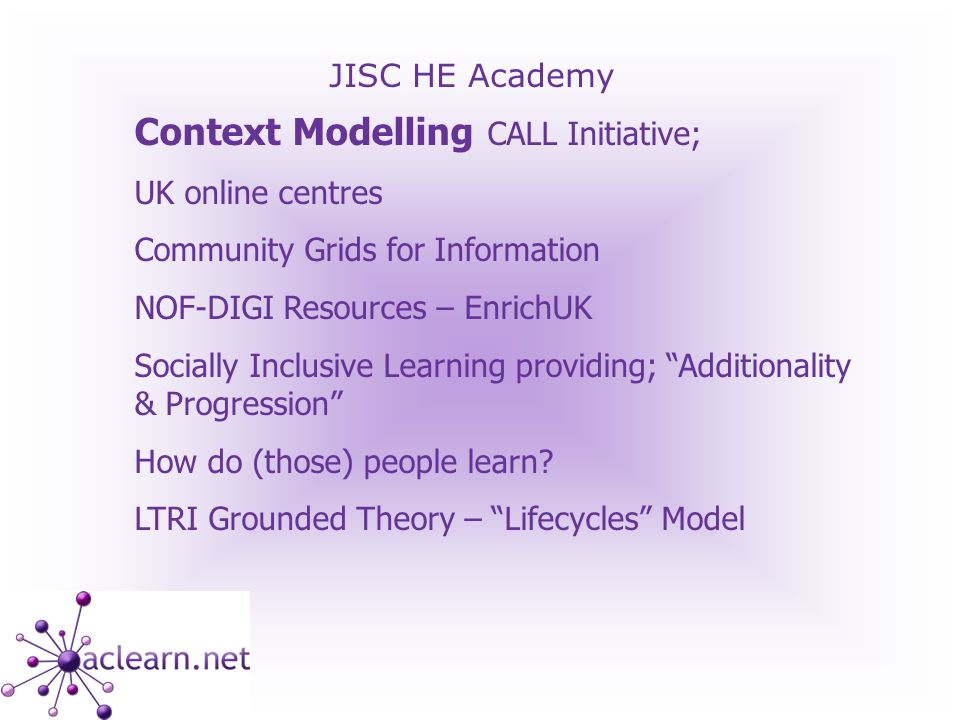 JISC HE Academy Context Modelling CALL Initiative; UK online centres Community Grids for Information NOF-DIGI Resources – EnrichUK Socially Inclusive Learning providing; Additionality & Progression How do (those) people learn.