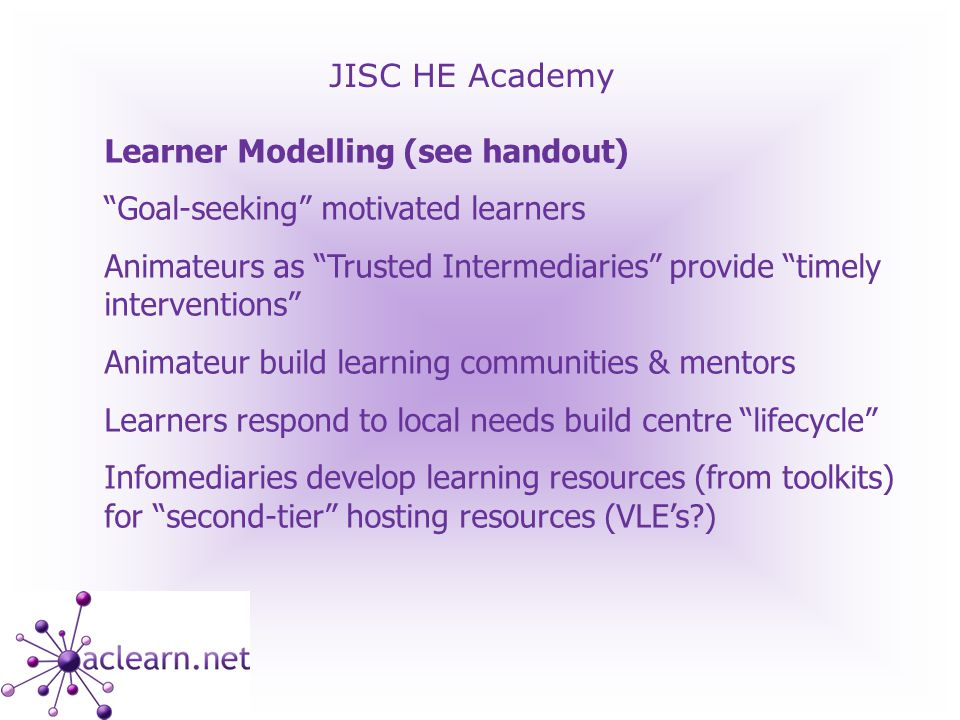 JISC HE Academy Links Community Content Design Issues and Resources http://www.contentbank.org/homepage.asp http://www.contentbank.org/addition_tools.asp http://www.londonmet.ac.uk/ltri/research/informal.htm http://neukol.org.uk/comchall/ - online pub quiz (community challenge) http://www.enrichuk.net/ (see Showcase and Multikulti) www.learners.org.uk Community Centre Development Principles www.bctpartners.com/resources/CTCs_as_Catalysts.pdf Context Resources http://www.jisc.ac.uk/index.cfm?name=project_elti http://jime.open.ac.uk/2005/22/luckin-2005-22-03.html http://www.sussex.ac.uk/elearning/strategy.php http://www.elearningeuropa.info/extras/new_learning_env.pdf www.liv.ac.uk/ccr/2005_conf/subject_areas/education_complexity/full_papers/VargaAtkinsFullPaperweb2.doc