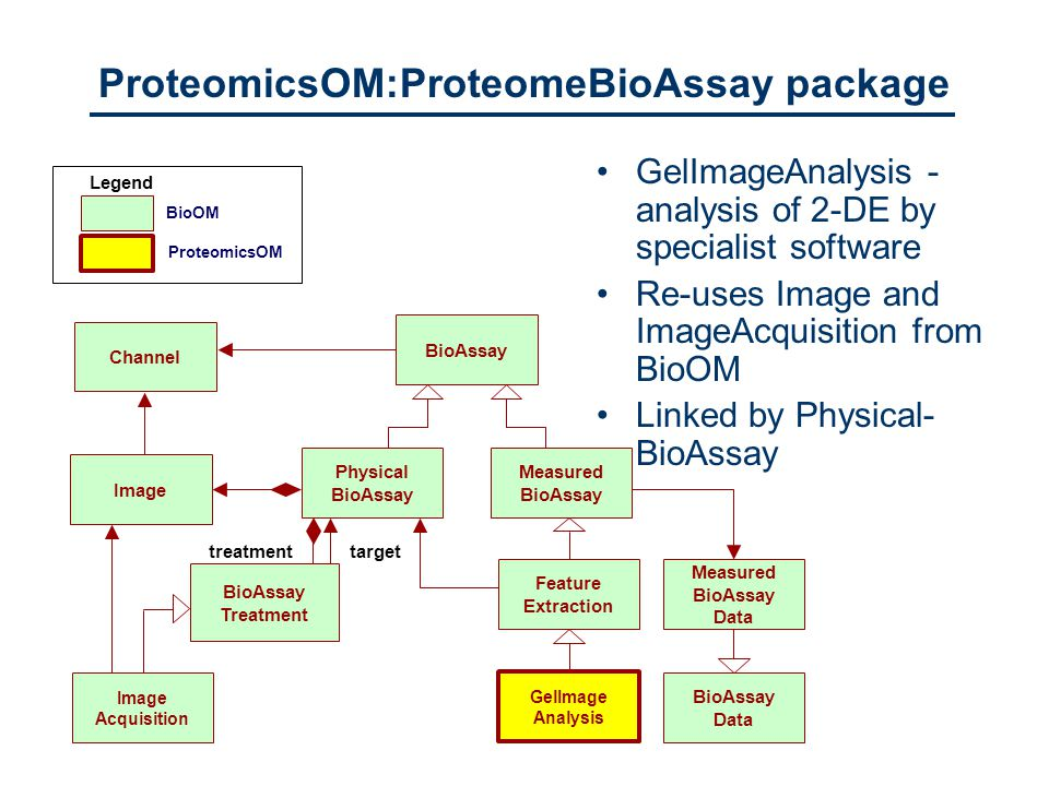 BioOM ProteomicsOM Legend GelImageAnalysis - analysis of 2-DE by specialist software Re-uses Image and ImageAcquisition from BioOM Linked by Physical- BioAssay BioAssay Treatment Physical BioAssay BioAssayImage Channel Image Acquisition GelImage Analysis Measured BioAssay Feature Extraction Measured BioAssay Data BioAssay Data targettreatment ProteomicsOM:ProteomeBioAssay package