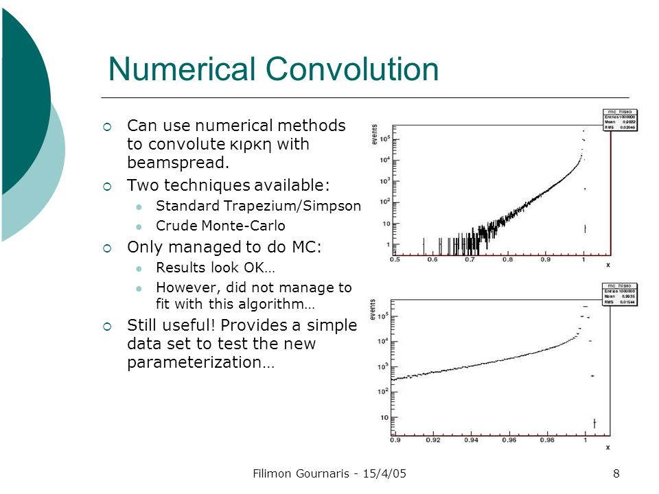 Filimon Gournaris - 15/4/058 Numerical Convolution  Can use numerical methods to convolute κιρκη with beamspread.