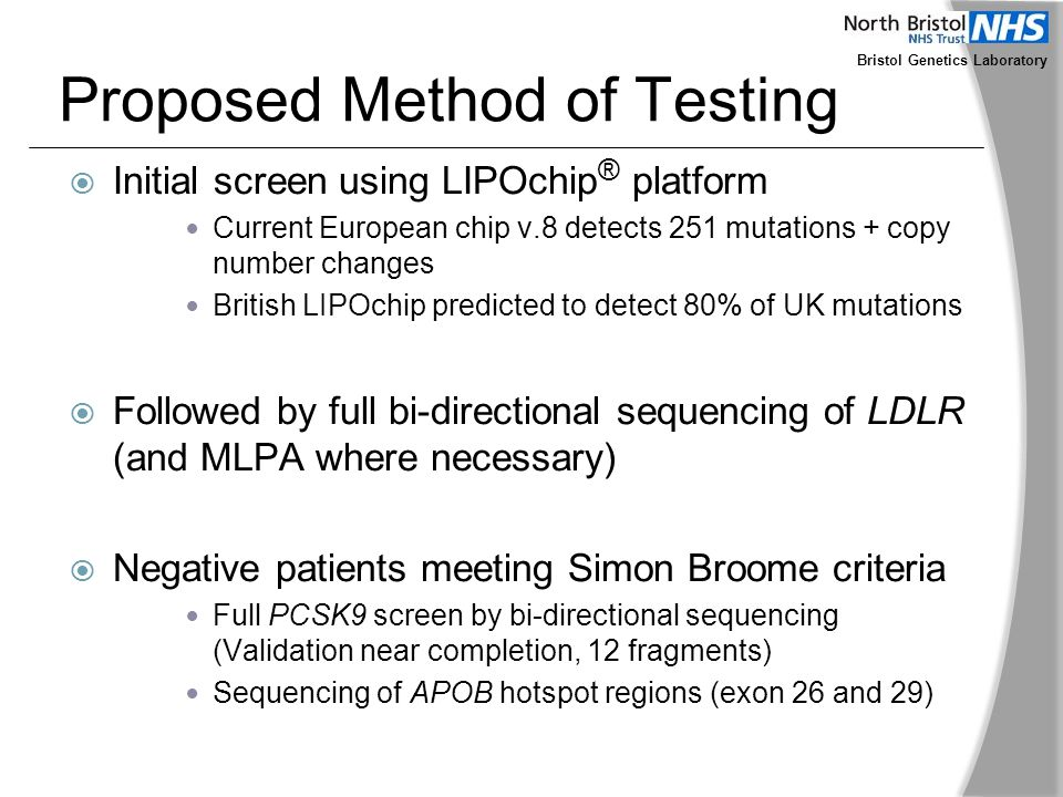 Bristol Genetics Laboratory Proposed Method of Testing  Initial screen using LIPOchip ® platform Current European chip v.8 detects 251 mutations + co