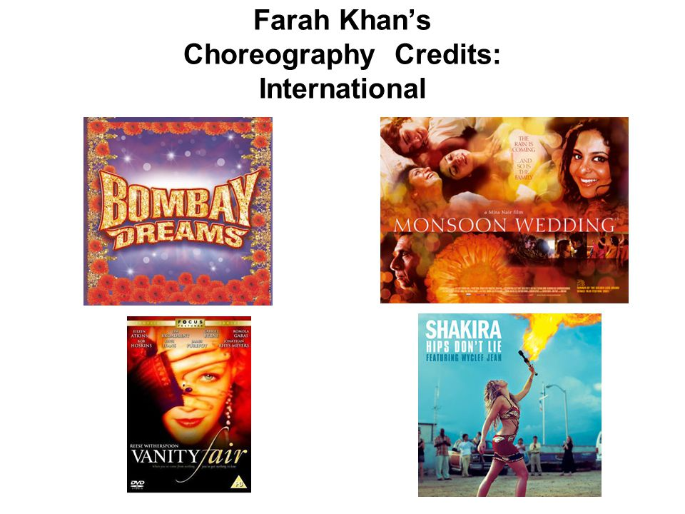 Farah Khan's Choreography Credits: International