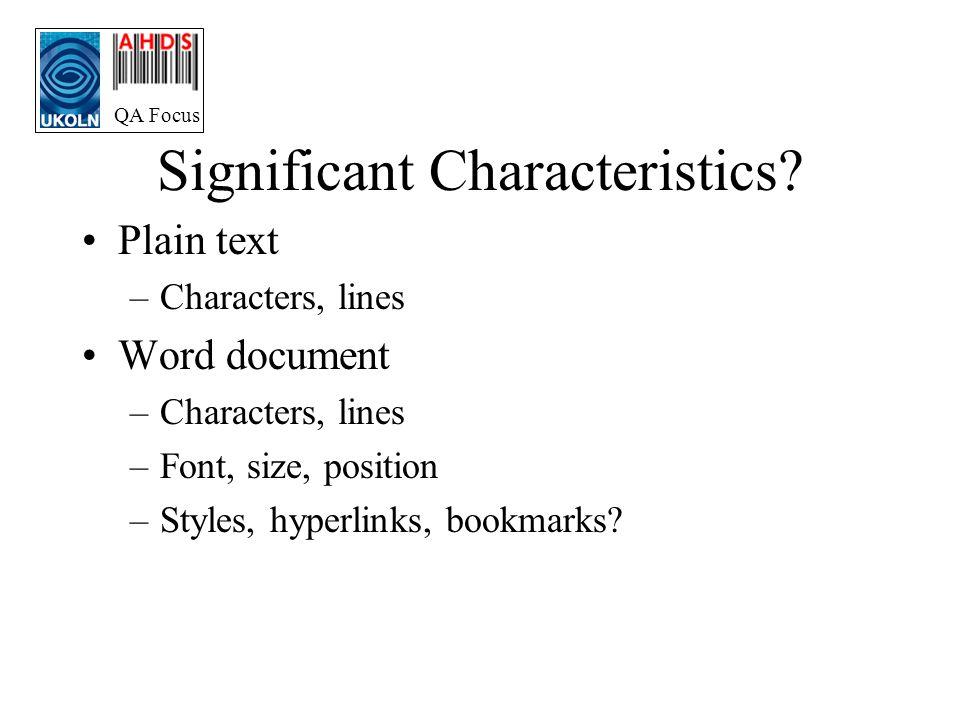 QA Focus Significant Characteristics.