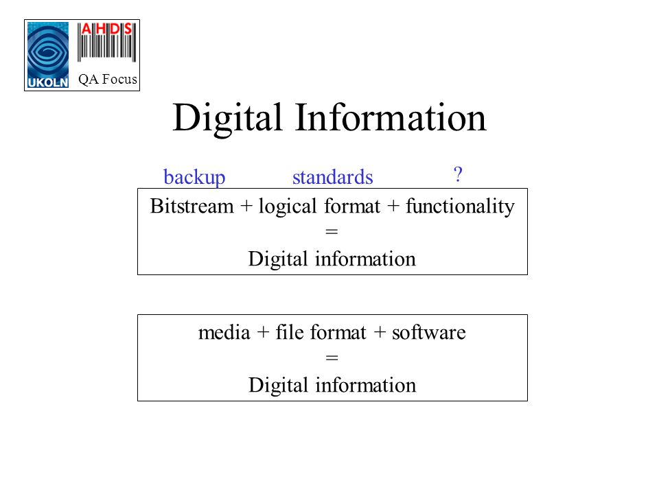 QA Focus Digital Information Bitstream + logical format + functionality = Digital information media + file format + software = Digital information backupstandards