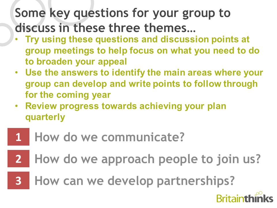 Some key questions for your group to discuss in these three themes… How do we communicate.