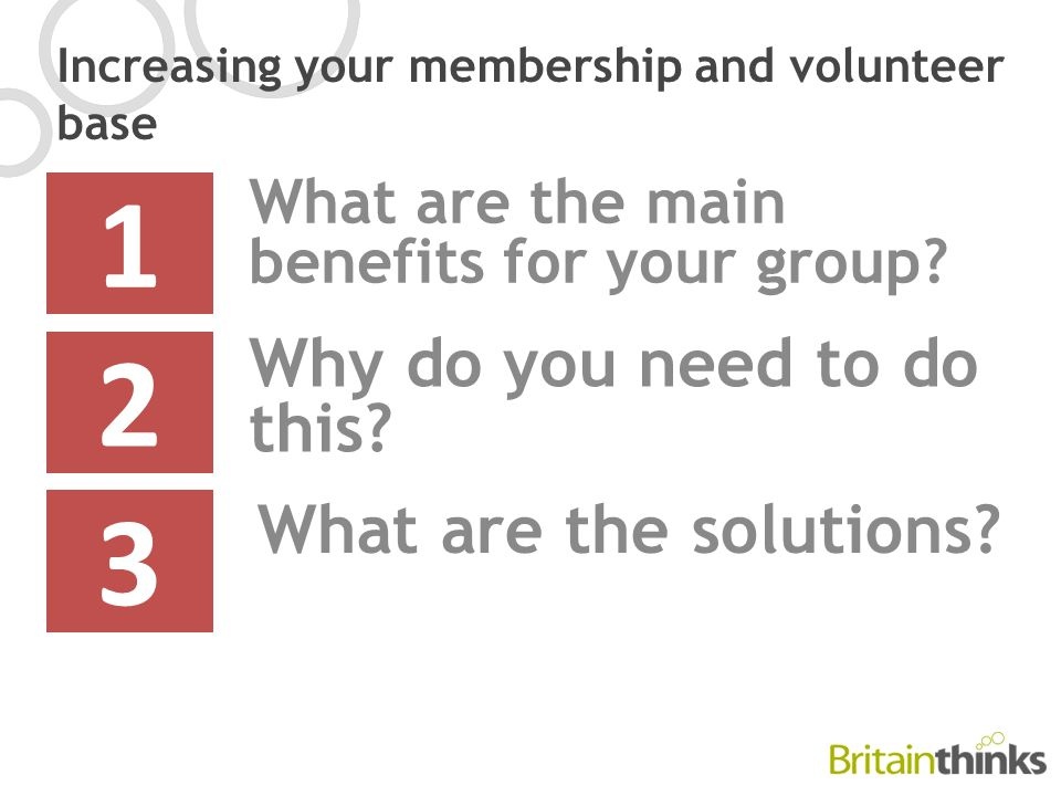 Increasing your membership and volunteer base What are the main benefits for your group.