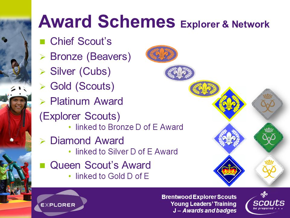 Brentwood Explorer Scouts Young Leaders' Training J – Awards and badges Chief Scout's  Bronze (Beavers)  Silver (Cubs)  Gold (Scouts)  Platinum Award (Explorer Scouts) linked to Bronze D of E Award  Diamond Award linked to Silver D of E Award Queen Scout's Award linked to Gold D of E Award Schemes Explorer & Network