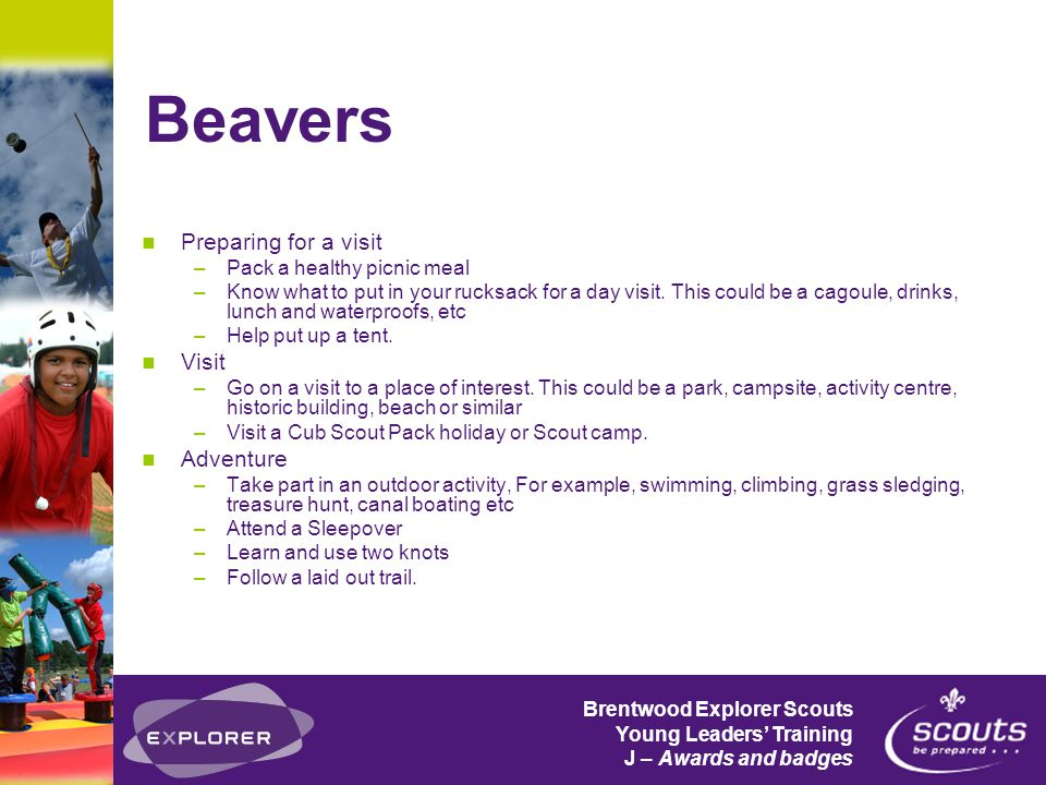Brentwood Explorer Scouts Young Leaders' Training J – Awards and badges Beavers Preparing for a visit –Pack a healthy picnic meal –Know what to put in your rucksack for a day visit.