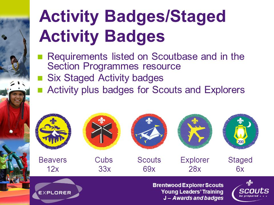 Brentwood Explorer Scouts Young Leaders' Training J – Awards and badges Staged Badges Emergency Aid Hikes Away Information Technology Nights Away Musician Swimmer