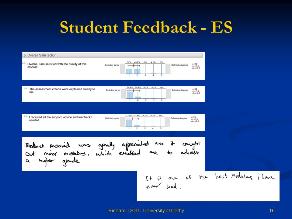Student Feedback - ES 16Richard J Self - University of Derby