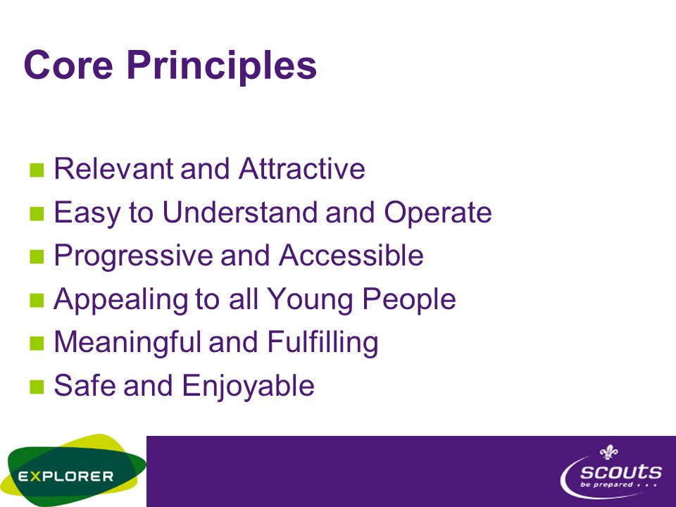 Core Principles Relevant and Attractive Easy to Understand and Operate Progressive and Accessible Appealing to all Young People Meaningful and Fulfilling Safe and Enjoyable