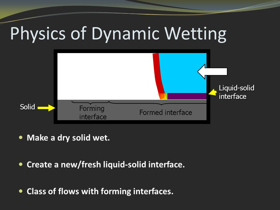 Physics of Dynamic Wetting Make a dry solid wet. Create a new/fresh liquid-solid interface.