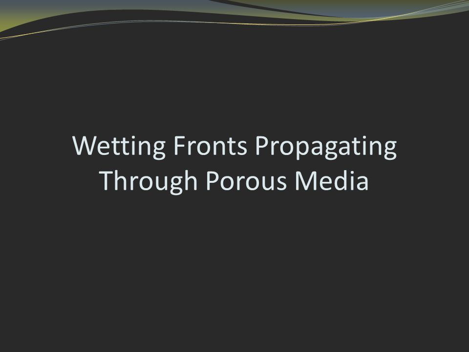 Wetting Fronts Propagating Through Porous Media