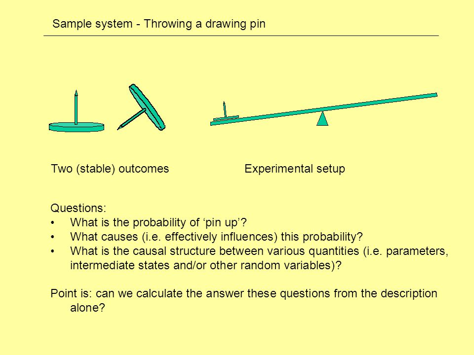 Sample system - Throwing a drawing pin Two (stable) outcomes Questions: What is the probability of 'pin up'.