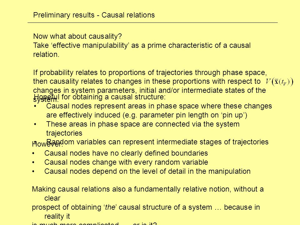 Preliminary results - Causal relations Now what about causality.