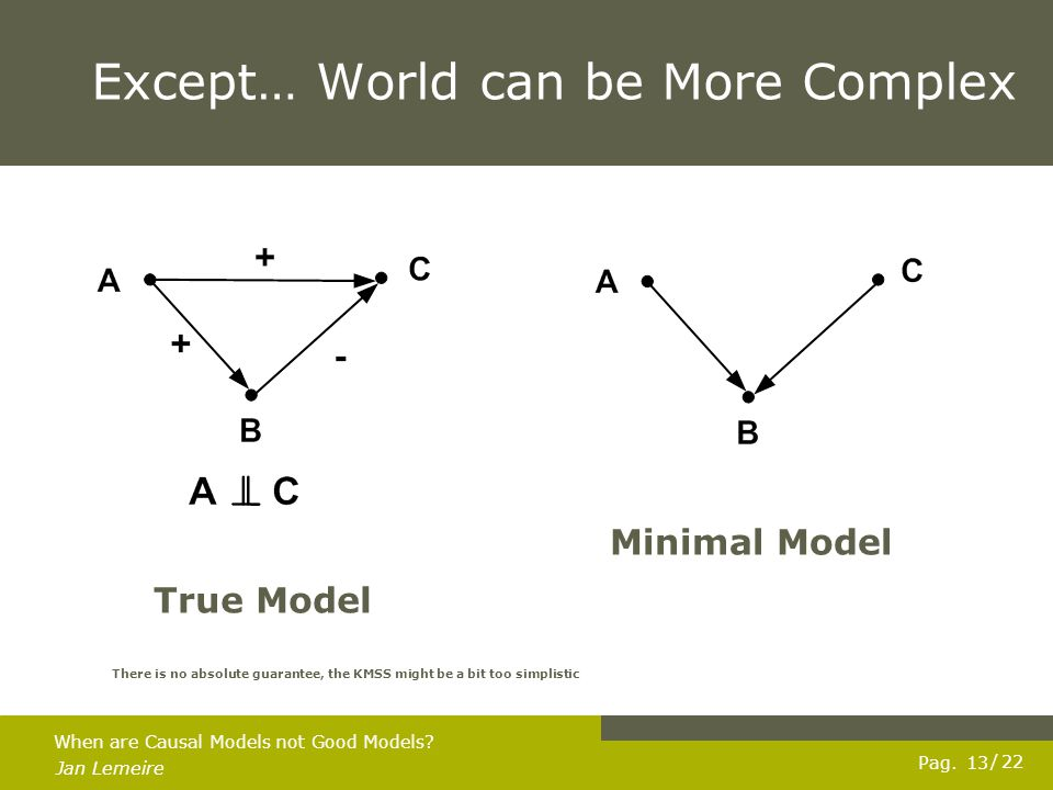Pag. Jan Lemeire / 22 13 When are Causal Models not Good Models.
