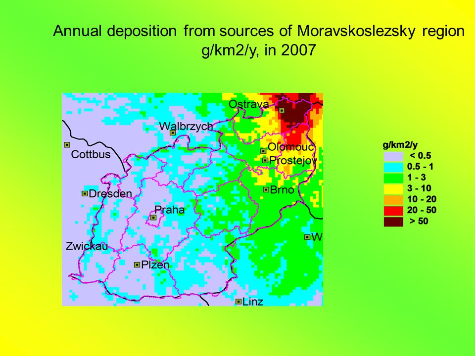 Annual deposition from sources of Moravskoslezsky region g/km2/y, in 2007