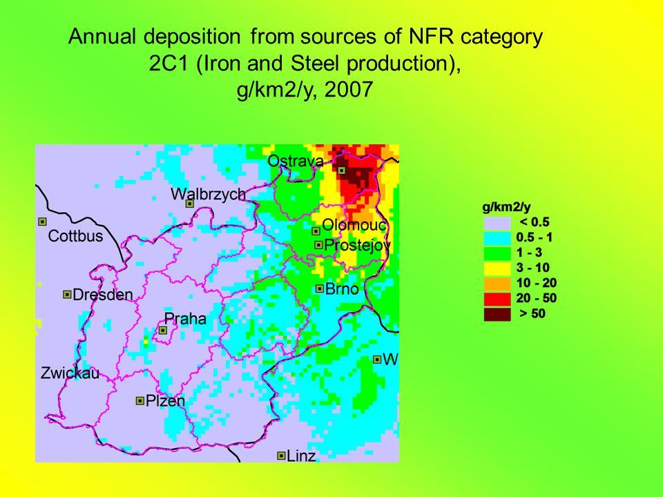 Annual deposition from sources of NFR category 2C1 (Iron and Steel production), g/km2/y, 2007