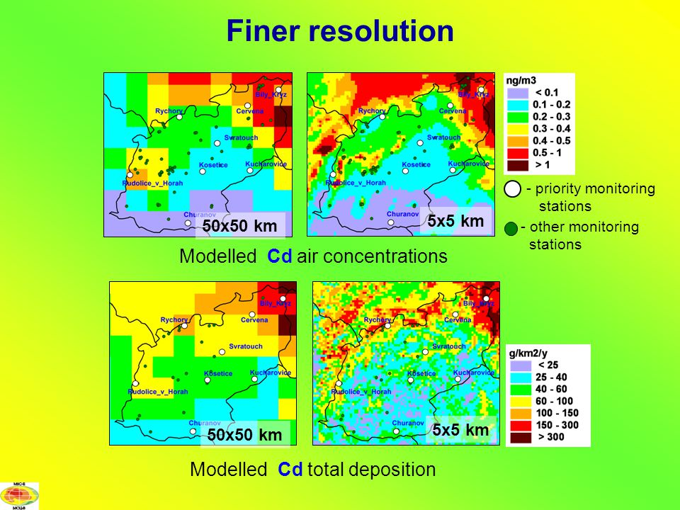 Modelled Cd air concentrations Finer resolution - priority monitoring stations - other monitoring stations 50x50 km 5x5 km 50x50 km 5x5 km Modelled Cd total deposition
