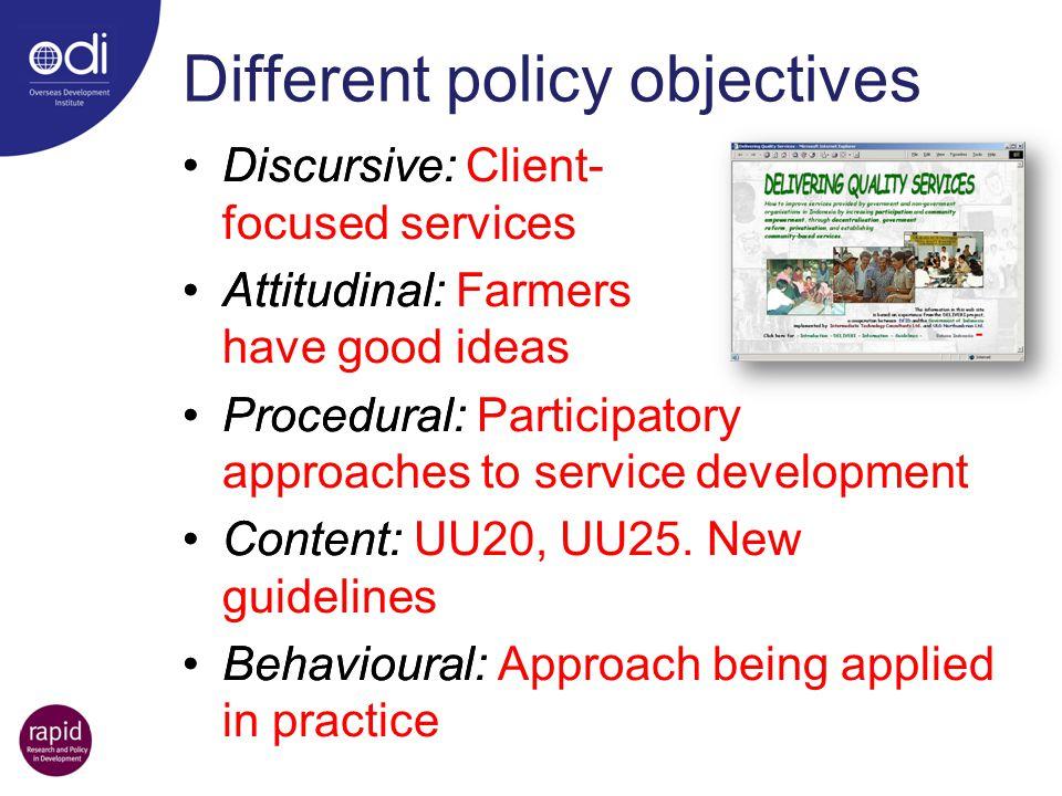 Discursive: Client- focused services Attitudinal: Farmers have good ideas Procedural: Participatory approaches to service development Content: UU20, U