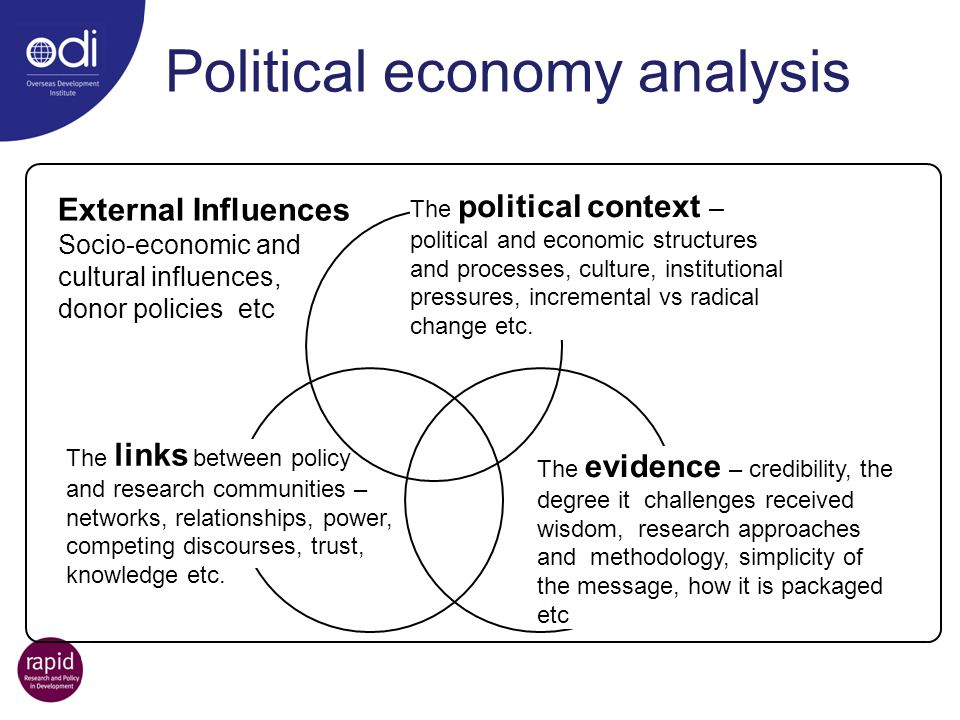 Political economy analysis The political context – political and economic structures and processes, culture, institutional pressures, incremental vs r