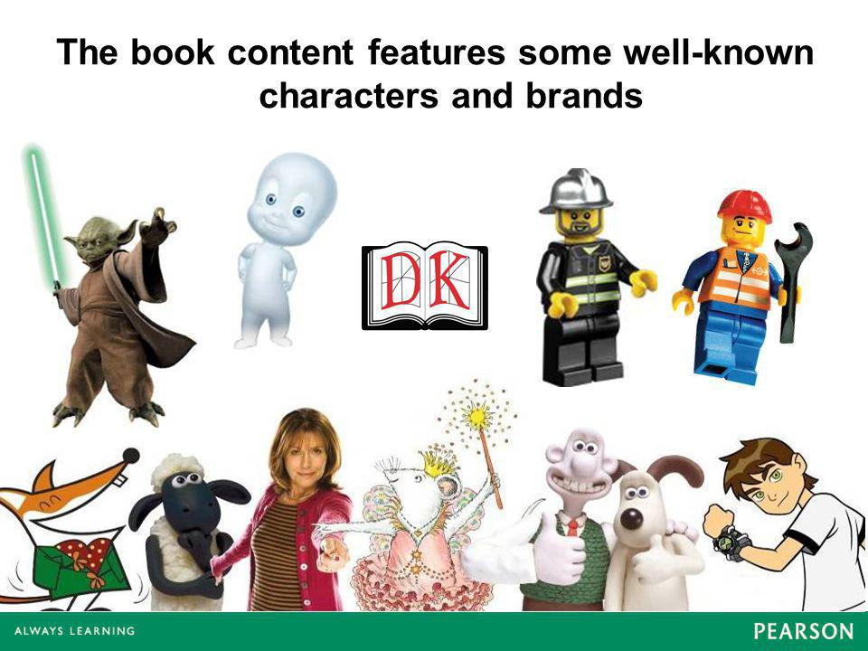 The book content features some well-known characters and brands