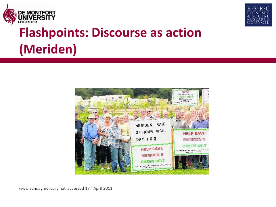 Flashpoints: Discourse as action (Meriden) www.sundaymercury.net accessed 17 th April 2011