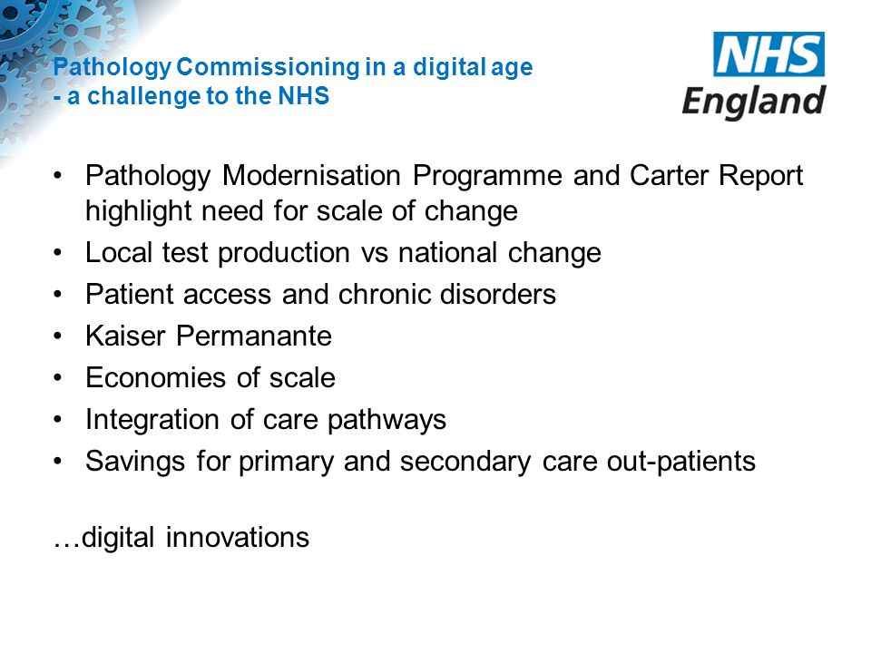 Digital solutions in pathology Not just an add on User needs; patients, clinicians and commissioners Touch points within care pathways National changes not regional quick fixes