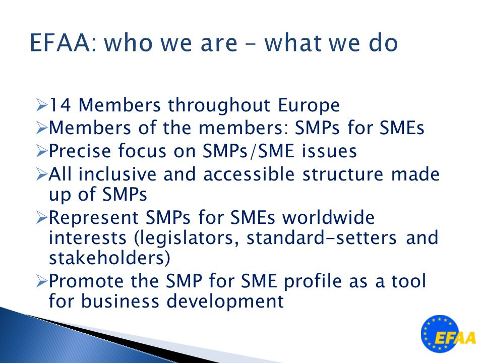  14 Members throughout Europe  Members of the members: SMPs for SMEs  Precise focus on SMPs/SME issues  All inclusive and accessible structure made up of SMPs  Represent SMPs for SMEs worldwide interests (legislators, standard-setters and stakeholders)  Promote the SMP for SME profile as a tool for business development